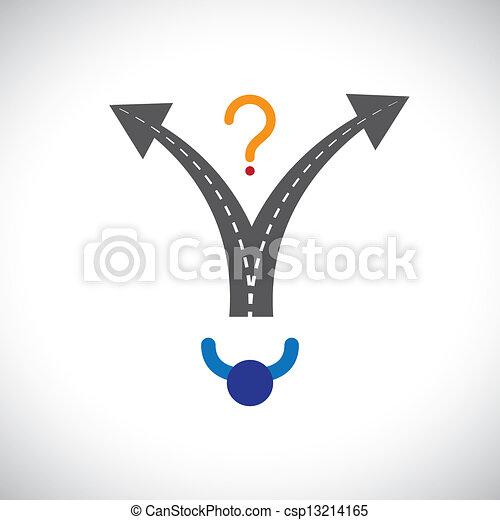 représente, carrière, etc, carrière, problèmes, graphic., quand, confondu, illustration, choix, vie, aussi, personne, gens, confection, difficulté, beaucoup, options, décision, présent - csp13214165