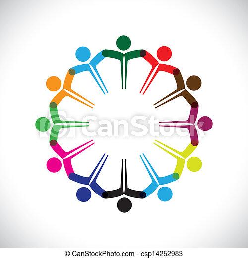 représenter, concept, gens, graphic-, collaboration, ensemble., enfants, &, aussi, unité, employé, réseau, jouer, diversité, illustration, réunion, mains, gosses, ceci, icônes, etc, vecteur, boîte, ou - csp14252983
