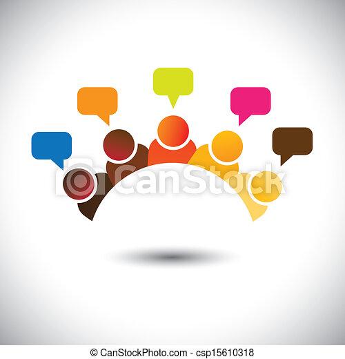 représenter, réunions, groupe, bureau, etc, ceci, graphic., illustration, collaboration, storming, vecteur, cerveau, boîte, membres, discussions, executives(employees), opinions-, airing, opinions, personnel - csp15610318