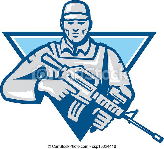retr, américain, fusil, assaut, soldat - csp15024418