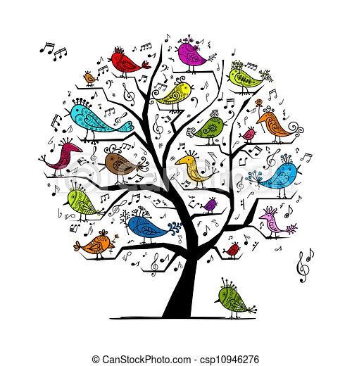 rigolote, arbre, oiseaux, conception, chant, ton - csp10946276