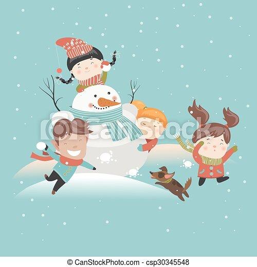 rigolote, boule de neige, gosses, jouer, baston - csp30345548