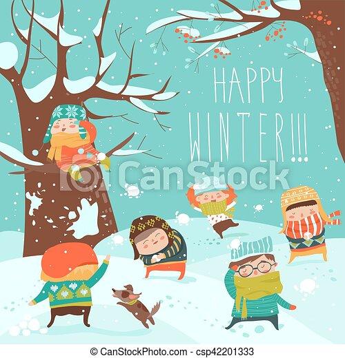 rigolote, boule de neige, gosses, jouer, baston - csp42201333
