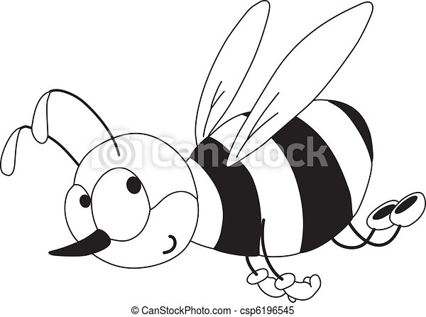 rigolote, esquissé, abeille - csp6196545