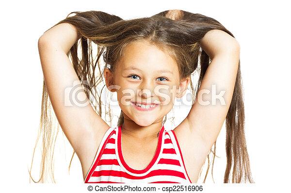 rigolote, peu, elle, gai, haut, cheveux, girl, jets - csp22516906