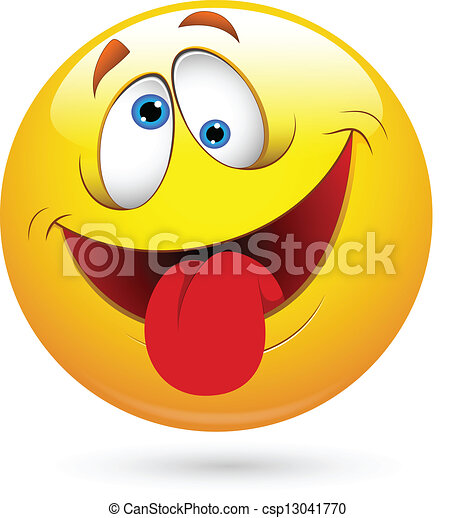 rigolote, visage smiley, vecteur, langue dehors - csp13041770