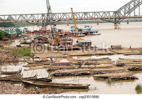 rivière, activités, ayeyarwady, port - csp23015896