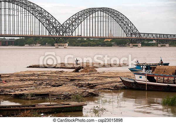 rivière, activités, ayeyarwady, port - csp23015898
