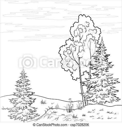 rivière, paysage., forêt, contour - csp7028206