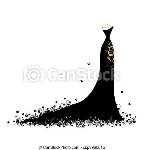 robe, soir, noir, cintres - csp3960815