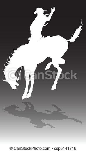 rodéo, cheval, illustration, cow-boy - csp5141716