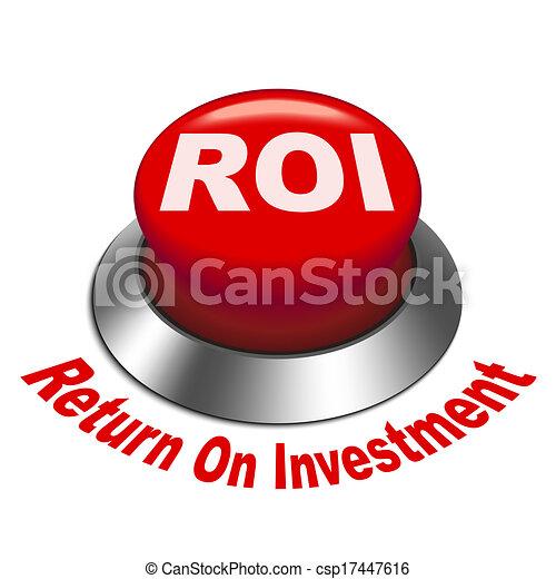 roi, investment), bouton, illustration, (return, 3d - csp17447616