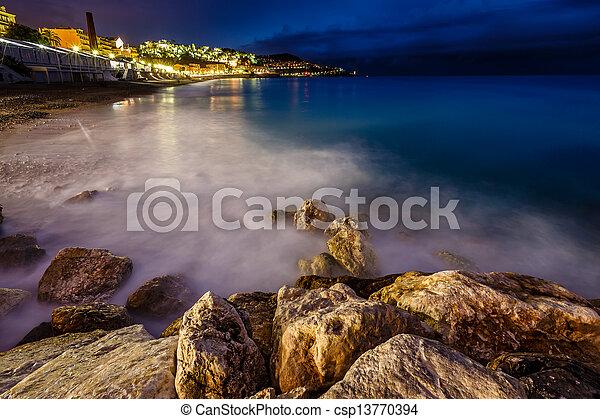 romantique, plage, d'azure, france française, cote, riviera, gentil, nuit - csp13770394