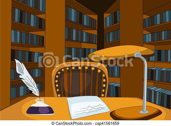 room., vendange, fond, bibliothèque, dessin animé - csp41561659