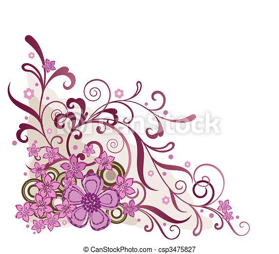 rose, floral, coin, concevoir élément - csp3475827