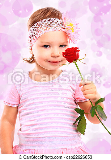rose, peu, gens, rose, concept., girl, heureux, bonheur, vêtements - csp22626653