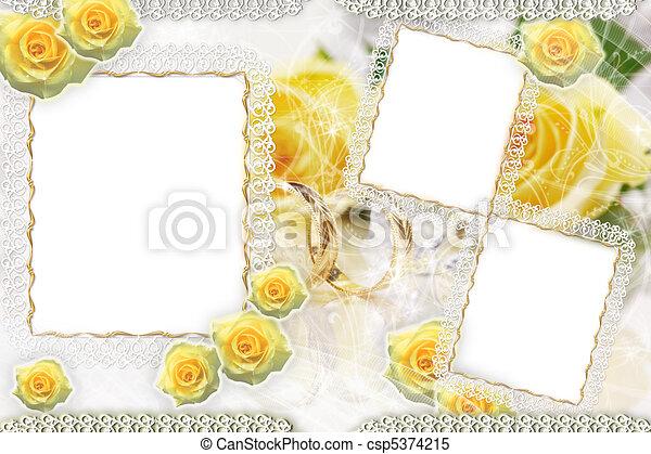 roses, cadre, fond - csp5374215