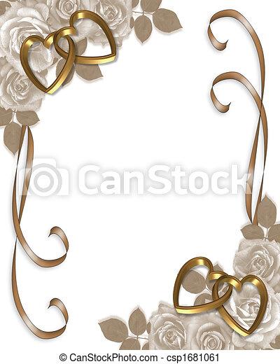 roses, mariage, sépia, invitation - csp1681061