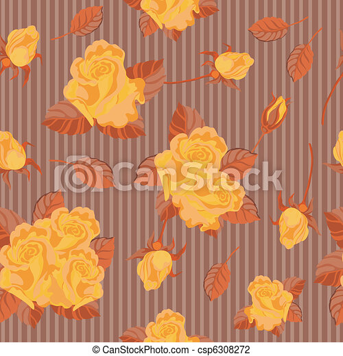 roses, seamless, jaune - csp6308272