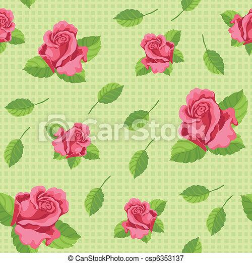 roses, vert, seamless - csp6353137