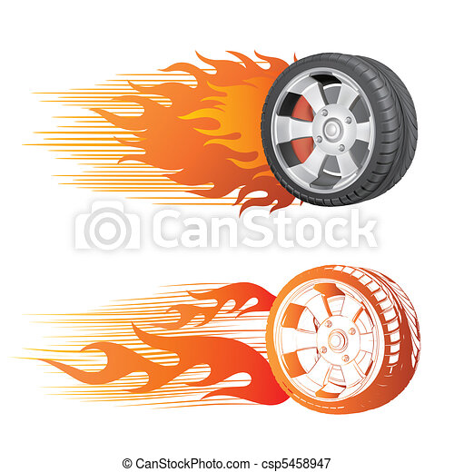 roue, flamme - csp5458947