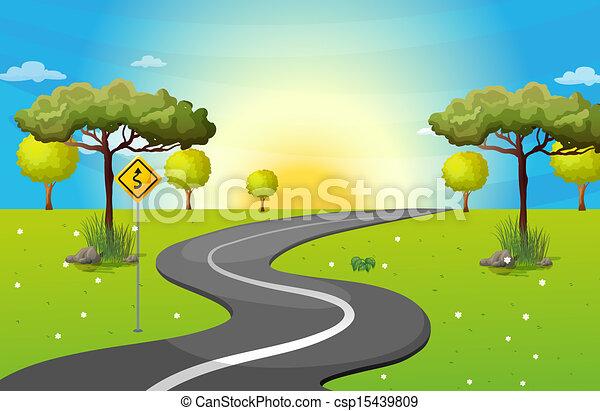 route enroulement, long, forêt - csp15439809