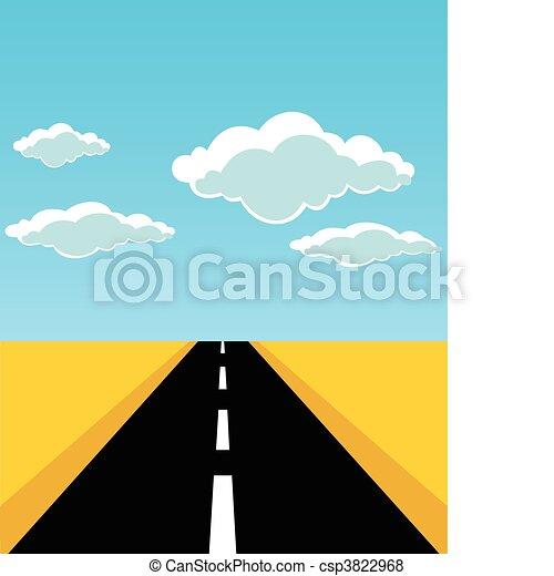 route, feuilles, vecteur, horizon., illustration - csp3822968