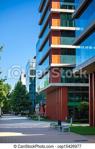 ruelle, bâtiments, moderne, budapest, bureau - csp15426977