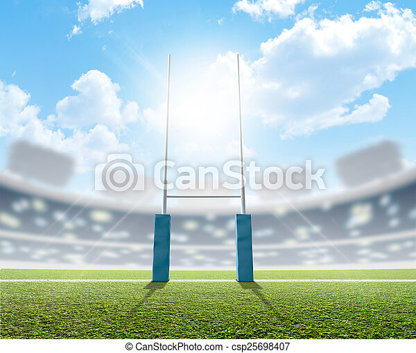 rugby, poteaux, stade - csp25698407