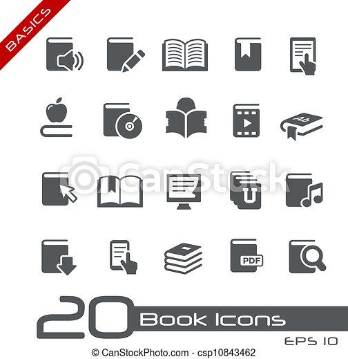 //, série, élémentsessentiels, livre, icônes - csp10843462
