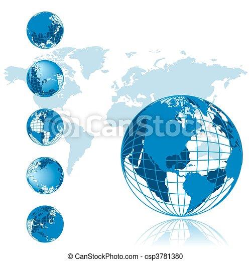 série, globe, 3d, carte, mondiale - csp3781380
