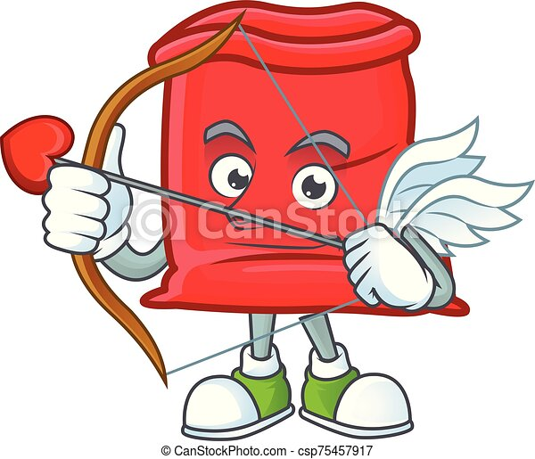 sac, santa, ouvert, cupidon, rouges, dessin animé - csp75457917