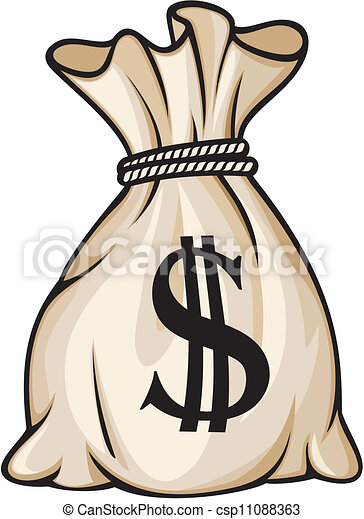 sac, signe dollar, argent - csp11088363