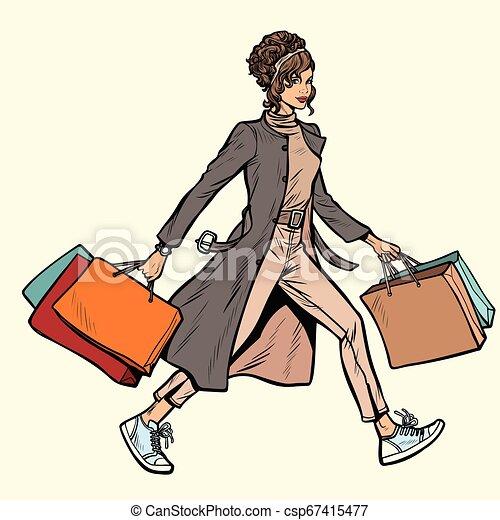 sacs, achats, femme, moderne - csp67415477
