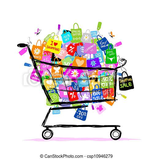 sacs, concept, achats, grand, vente, conception, panier, ton - csp10946279