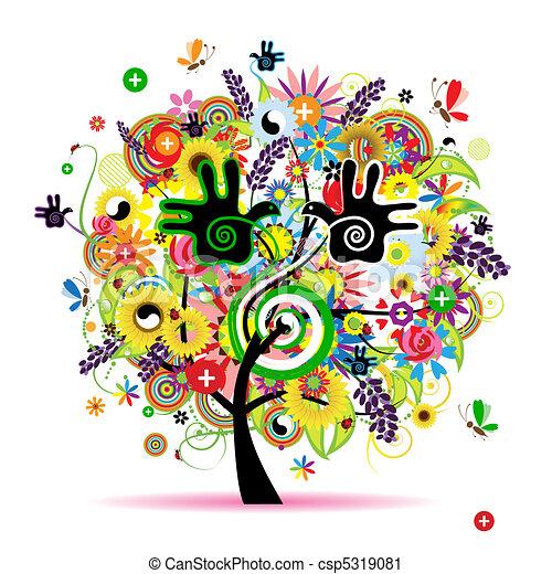 sain, énergie, arbre, conception, herbier, ton - csp5319081