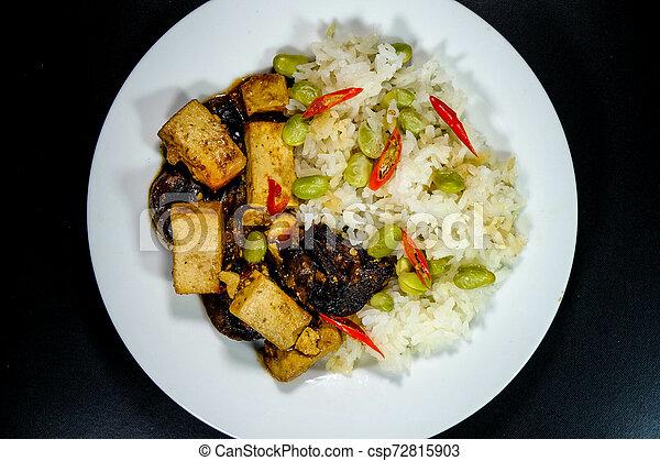 sain, teriyaki, riz, tofu, collant - csp72815903