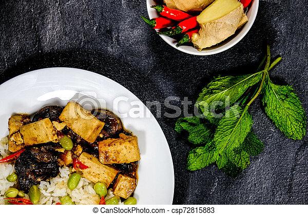 sain, teriyaki, riz, tofu, collant - csp72815883