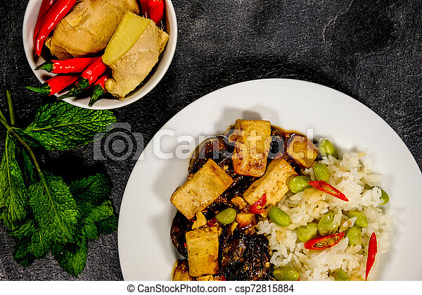 sain, teriyaki, riz, tofu, collant - csp72815884