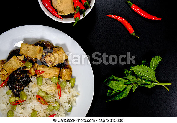 sain, teriyaki, riz, tofu, collant - csp72815888