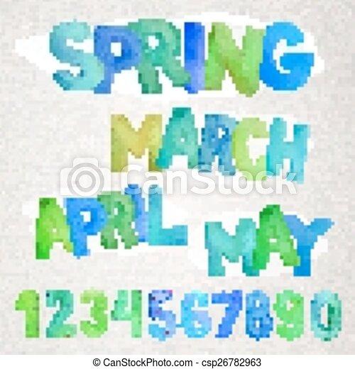 saison, aquarelle, noms, printemps - csp26782963