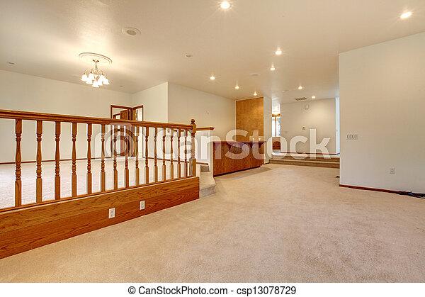 salle, grand, beige, railing., vide, moquette - csp13078729