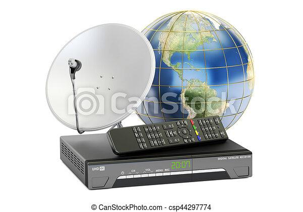 satellite, concept., global, rendre, numérique, récepteur, plat, télécommunications, la terre, 3d - csp44297774