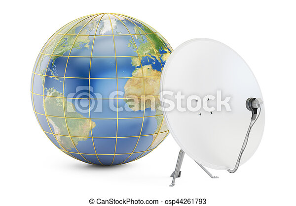 satellite, concept., global, rendre, plat, télécommunications, la terre, 3d - csp44261793