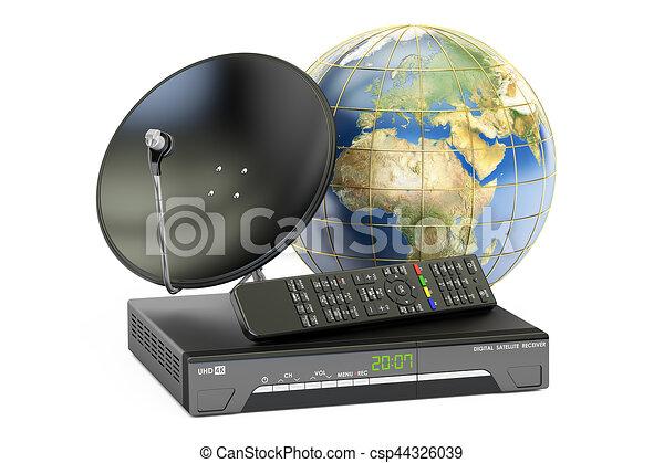 satellite, concept., télécommunications globales, rendre, numérique, plat, 3d, globe, la terre, récepteur - csp44326039