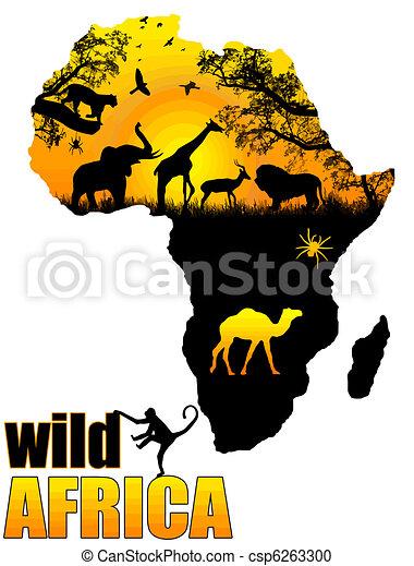 sauvage, affiche, afrique - csp6263300