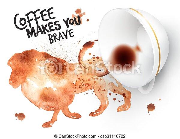 sauvage, affiche, café, lion - csp31110722