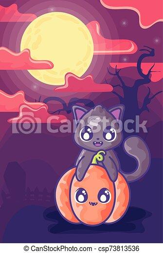 scène, lune, cimetière, chat noir - csp73813536