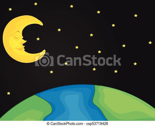 scène nuit, étoiles, lune - csp53719428