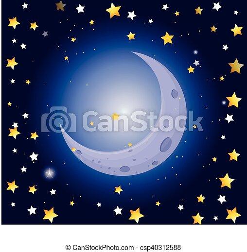 scène nuit, étoiles, lune - csp40312588